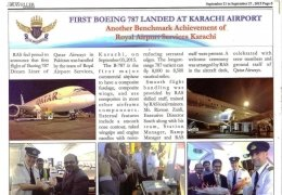 First Boeing 787 Landed at Karachi Airport (Another Benchmark Achievement of Royal Airport Services Karachi)